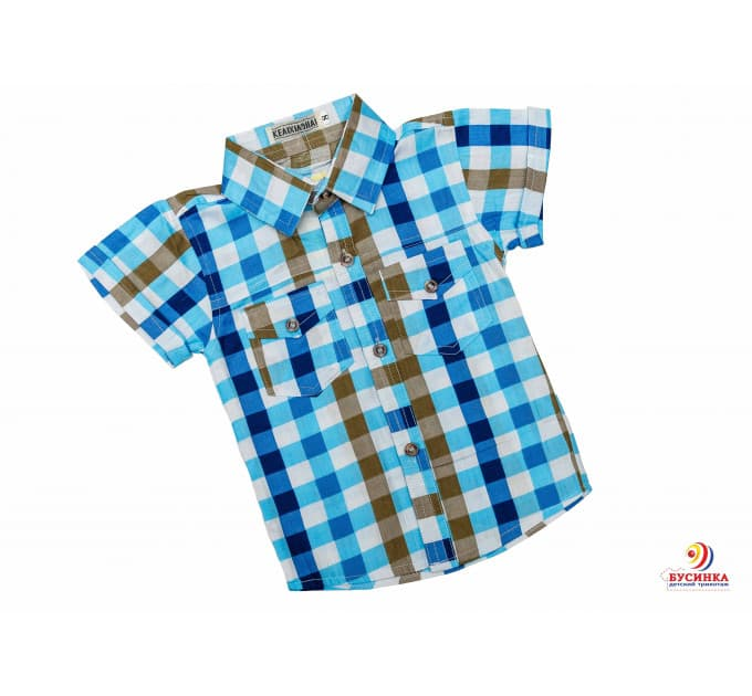 Рубашка №17/1 (голубой, василек, коричневый)
