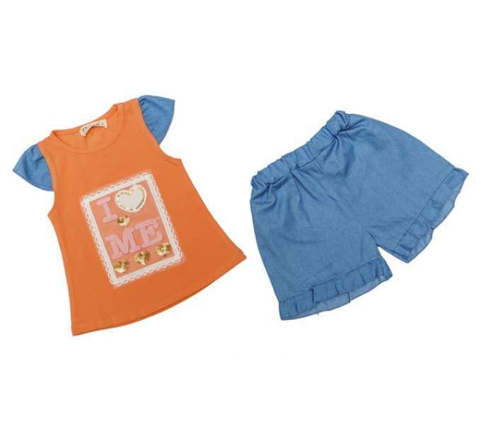 Костюм девочки №20 (буквы, сердечко, оранжевый)