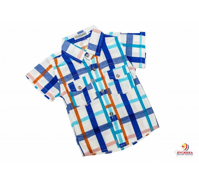 Рубашка №17/3 (белый, василек, зеленый)
