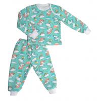 Пижама теплая 610/41  бирюза, единороги