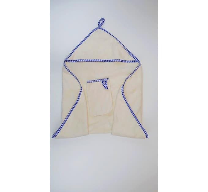 Комплект банный 0152/3 (молочный, голубая окантовка)
