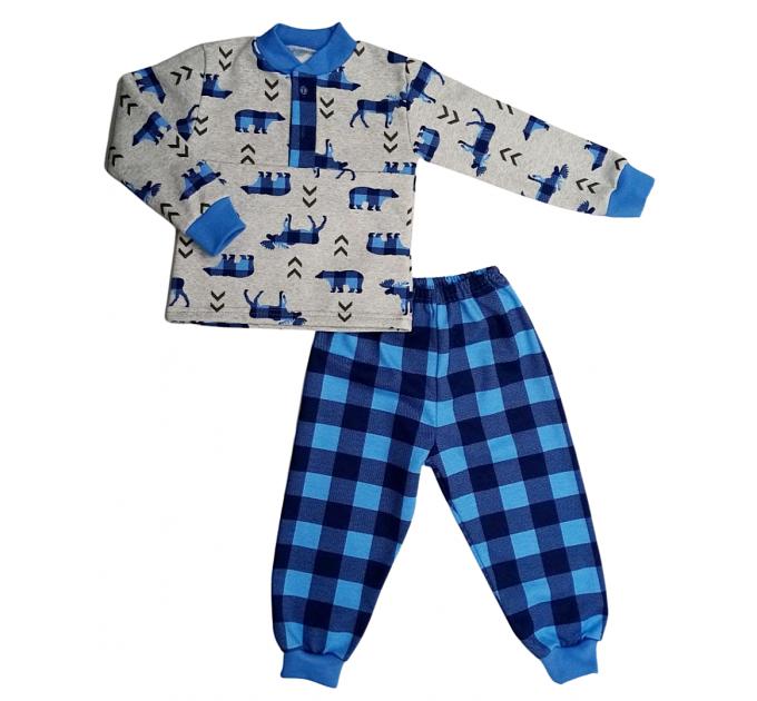 Пижама теплая 607/2 олени, василек