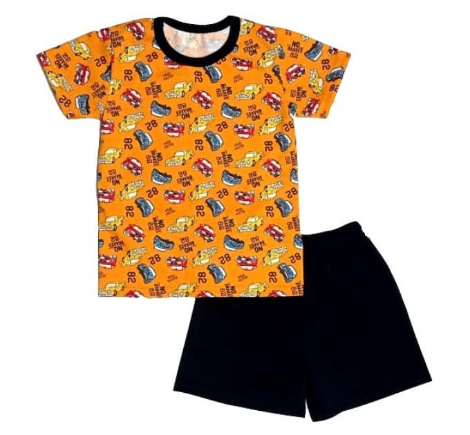 Костюм для мальчика 0242/17 (оранжевый, машинки)