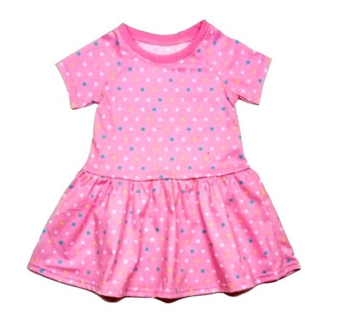 Платье 0912/1 розовое в горошек