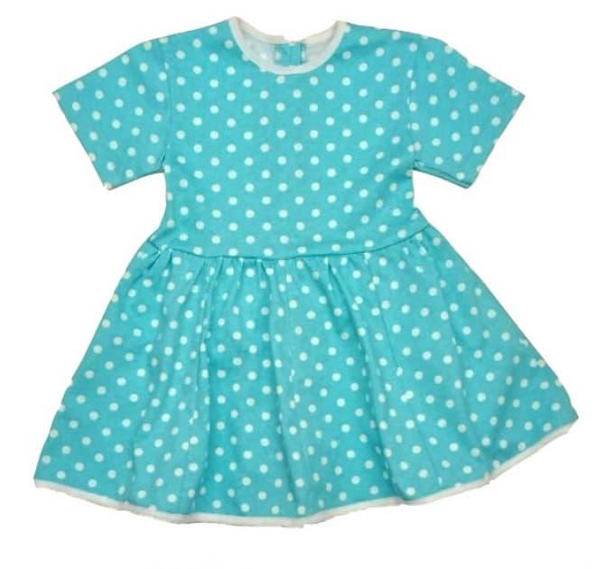 Платье 7028/49 голубое, белый горох