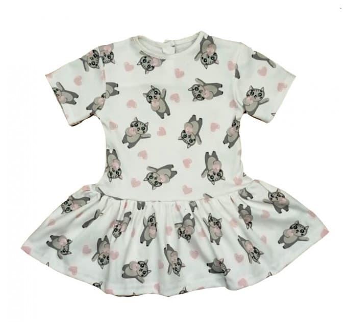 Платье 7045/1 белое с кошками