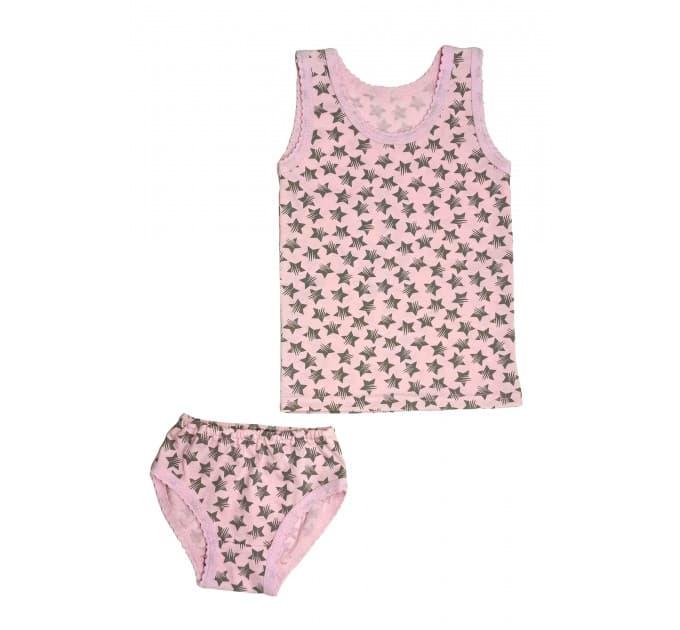 Гарнитур для девочки 055/17 (розовый, звезды серые)