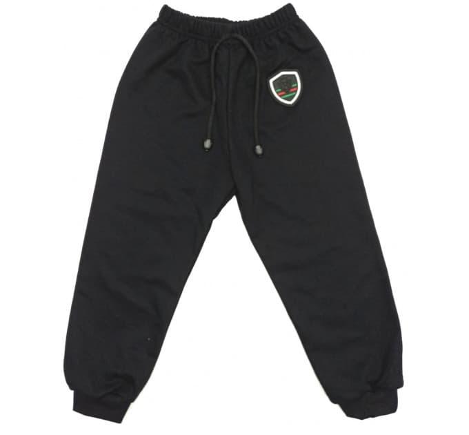 Спортивные штаны 5045/2 (черные, эмблема)